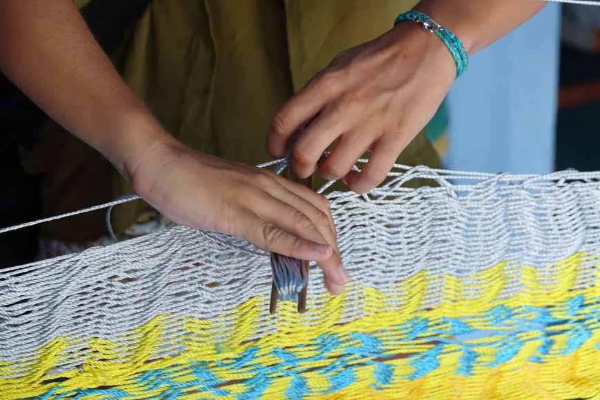 fabrique traditionnel de hamac à Tixkokob